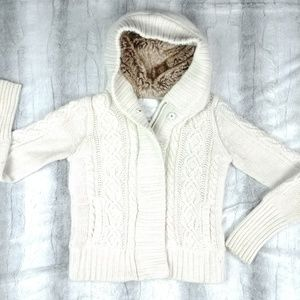 American Eagle Cable Knit Zip Up Hoodie